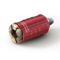 "WEH® Connector TW111 for filling refrigerants on 'Schrader valves'  5/16"" SAE, red (high pressure), EPDM seal, max. 42 bar, inline media inlet UNF 1/2""-20 external thread"
