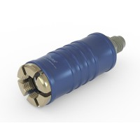 "WEH® Connector TW111 for filling refrigerants on Schrader valves 1/4"" SAE , blue (low pressure), chloroprene seal, max. 42 bar,  inline media inlet UNF 7/16""-20 external thread"